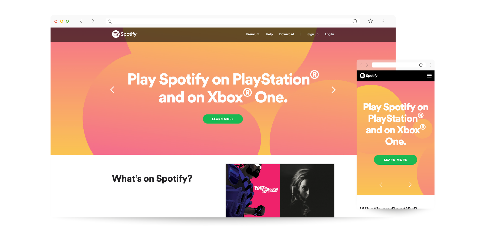 Spotify example of Web Colour Gradient