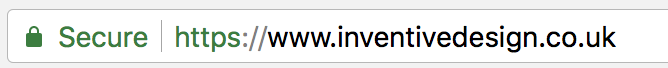 Website with SSL served over a HTTPS connection featuring a green secure padlock